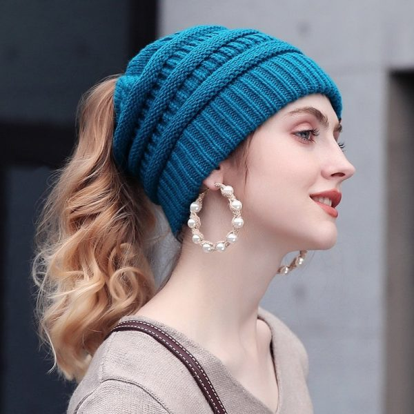 Turquoise Soft Knit Ponytail Beanie