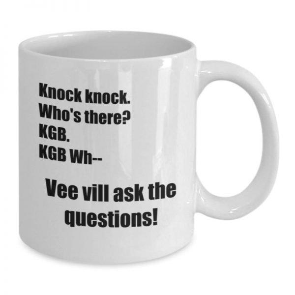 Dwight Schrute Mug – The Office KGB Knock Knock Joke - Back