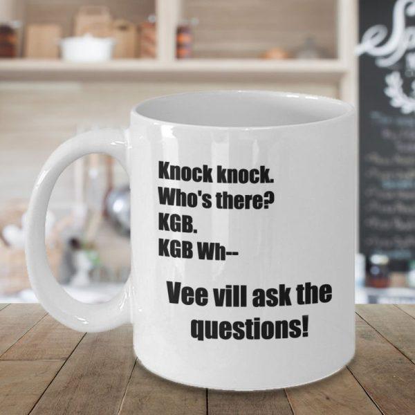 Dwight Schrute Mug – The Office KGB Knock Knock Joke - Front Beauty