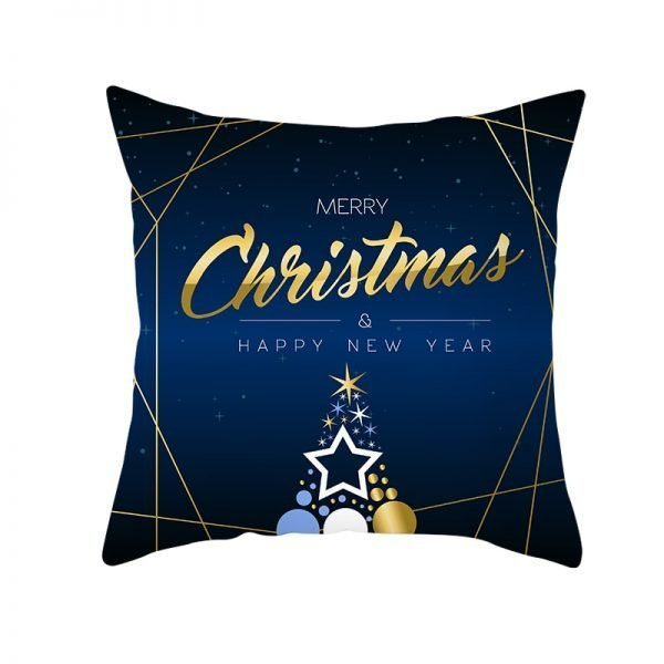 Merry Christmas & Happy New Year Star Tree Pillow Cover
