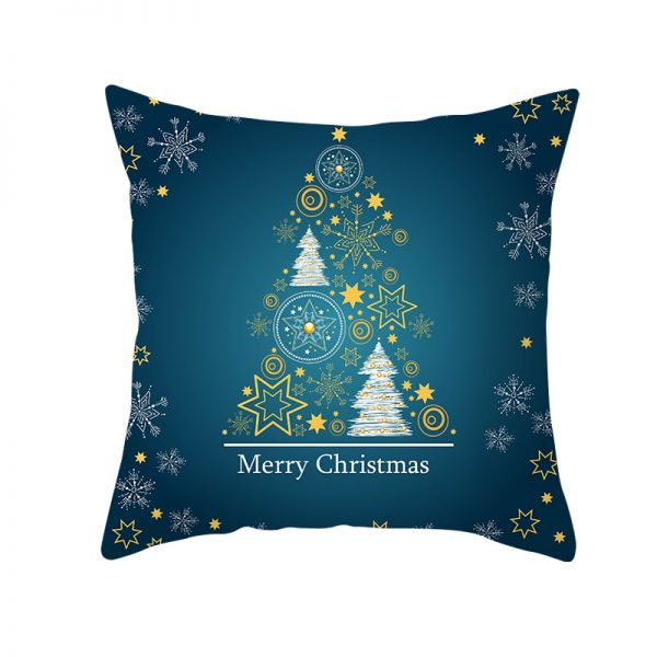 Merry Christmas Trees and Stars Pillow Cover