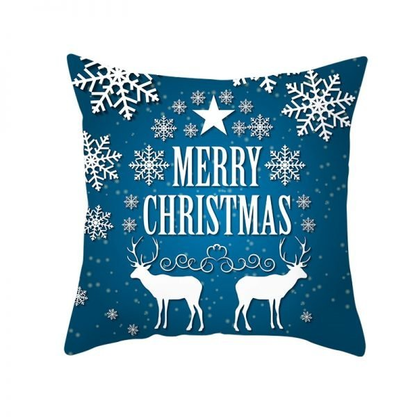 Merry Christmas White Reindeer Pillow Cover