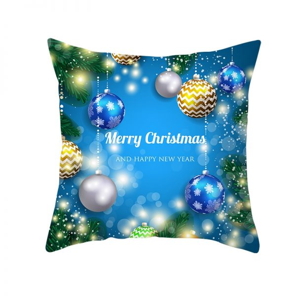 Merry Christmas & Happy New Year Shining Ornaments Pillow Cover