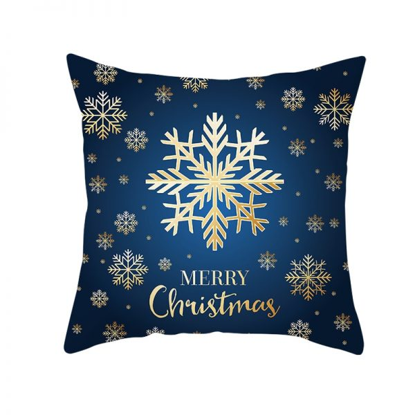 Merry Christmas Golden Snowflake Blue Pillow Cover