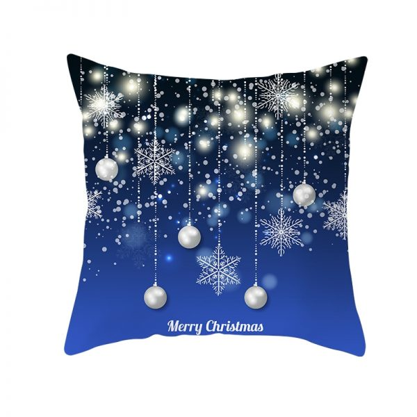 Merry Christmas Silver Ornaments & Snowflakes Pillow Cover