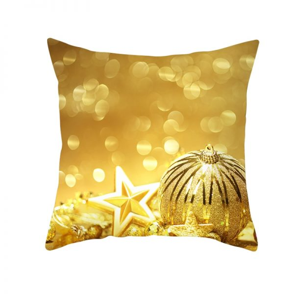Golden Stars & Ornaments Pillow Cover