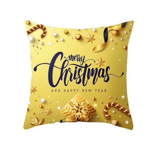 Merry Christmas & Happy New Year Golden Pillow Cover