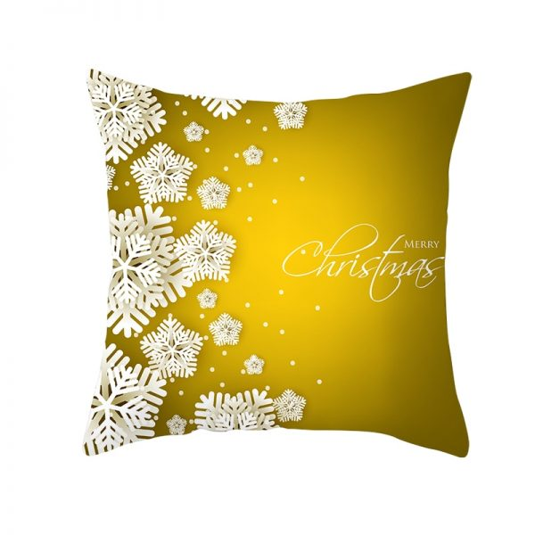 Golden Merry Christmas & White Snowflakes Pillow Cover