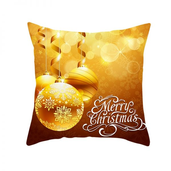 Merry Christmas Deep Gold Ornaments Pillow Cover