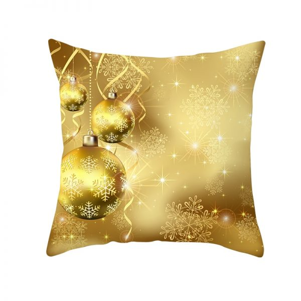 Golden Ornaments & Snowflakes Pillow Cover