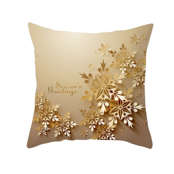 Season's Greeting Golden Snoflakes Pillow Cover
