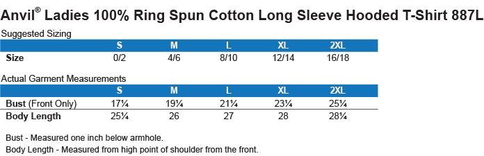 Ladies LS Hooded T-Shirt Size Chart