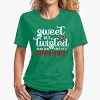 Sweet But Twisted… Unisex T-Shirt - Green - Female Mockup REDUX