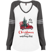 Christmas Movies Watching Ladies' Game LS V-Neck T-Shirt - Gray/White