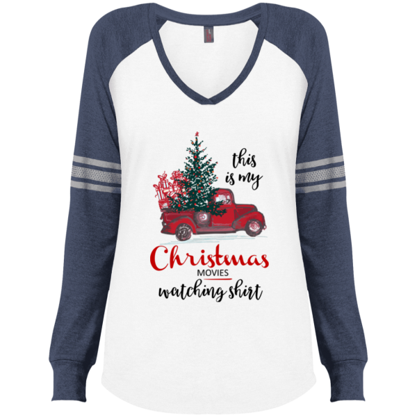 Christmas Movies Watching Ladies' Game LS V-Neck T-Shirt - Blue/White