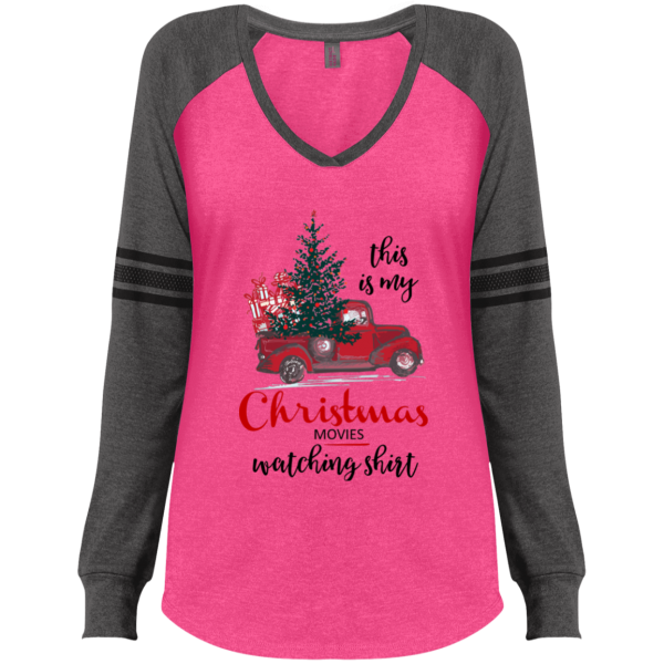 Christmas Movies Watching Ladies' Game LS V-Neck T-Shirt - Gray/Pink