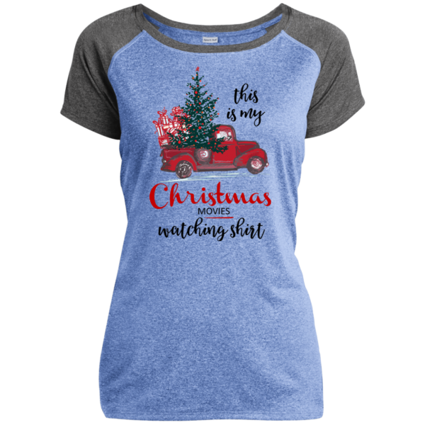 This Is My Christmas Movies Watching Shirt - Ladies Heather on Heather Performance T-Shirt - Blue / Gray