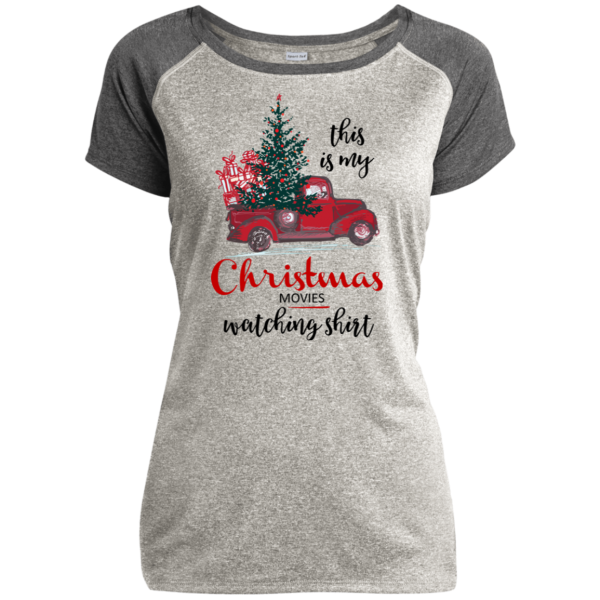 This Is My Christmas Movies Watching Shirt - Ladies Heather on Heather Performance T-Shirt - Gray / Gray