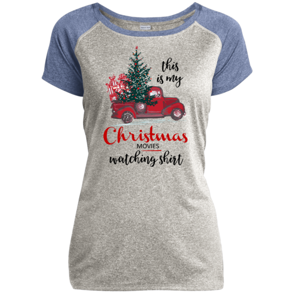 This Is My Christmas Movies Watching Shirt - Ladies Heather on Heather Performance T-Shirt - Gray / Light Blue