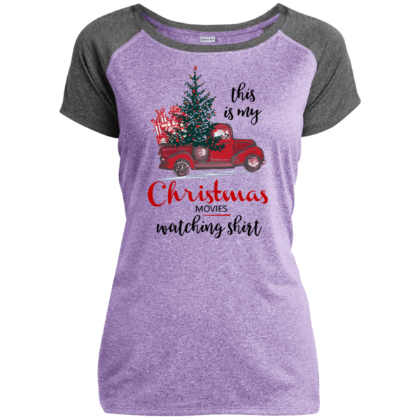 This Is My Christmas Movies Watching Shirt - Ladies Heather on Heather Performance T-Shirt - Purple / Gray