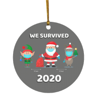 2020 Christmas Ornament – We Survived 2020 Santa Elf Reindeer – GRAY